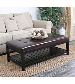Abbyson Living® Winslow Bicast Tufted Leather Coffee Table Ottoman