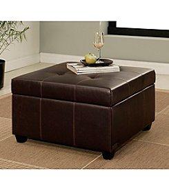 Abbyson Living® Stratford Leather Storage Ottoman