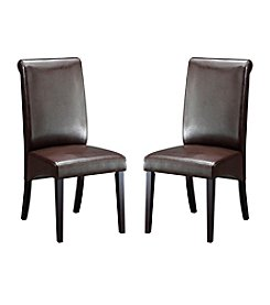 Abbyson Living® Set of 2 Kingston Leather Dining Chairs