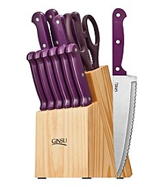 Ginsu® Essential Series 14-pc. Purple Cutlery Set with Natural Block