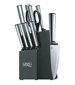 Ginsu® Koden Series 10-pc. Stainless Cutlery Set with Natural Block