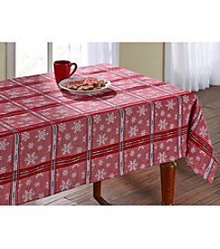 LivingQuarters Snowflake Luxe Tablecloth