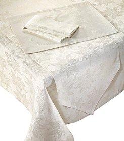 LivingQuarters Poinsettia Jacqaurd Ivory Table Linens