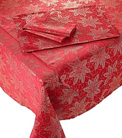 LivingQuarters Poinsettia Jacquard Red Table Linens
