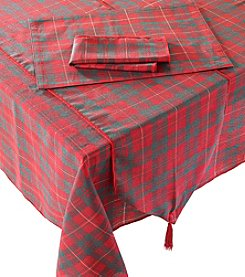LivingQuarters Metallic Plaid Table Linens