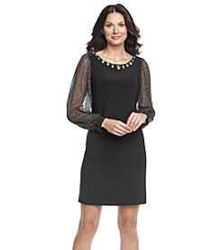 Jessica Howard® Embellished Neckline Sheer Sleeve Shift Dress