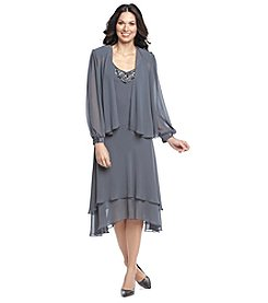 S.L. Fashions Long Sheer Sleeves Jacket Dress