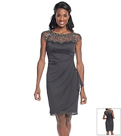 Xscape Bead Collar Side Ruch Cocktail Dress
