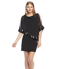 Xscape Cold Shoulder Capelet Sequin Dress