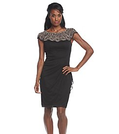 Xscape Cap Sleeve Bead Neckline Ruch Waist Dress