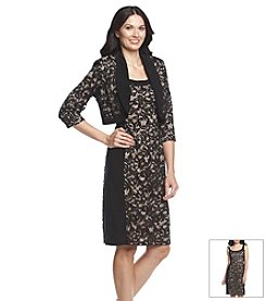 R&M Richards® Long Sleeve Lace Bolero Jacket Dress