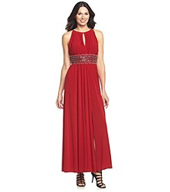 R&M Richards® Bead Waist Keyhole Front And Back Long Dress