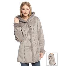 Jones New York® Faux Suede Jacket With Faux Rabbit Trim