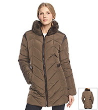 Jones New York® Down Jacket With Faux Fur Trimmed Collar