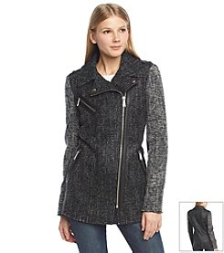 BCBGeneration™ Asymmetrical Moto Jacket With Contrast Sleeves