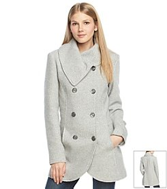Jessica Simpson Double Breasted Envelope Collar Basketweave Coat