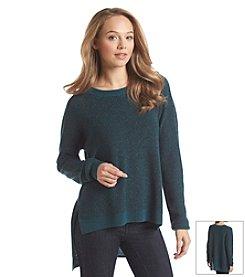 BCBGeneration™ Metallic Hi-Lo Crewneck Sweater