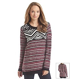 Pink Rose® Geometric & Stripe Sweater Tunic
