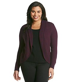 J.J. Basics Plus Size Marled Open Cardigan