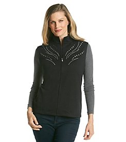 Alfred Dunner® Sorrento Solid Embellished Zip Up  Vest