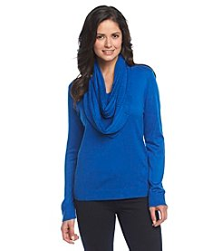 Notations® Solid Vneck Sweater With Infinity Scarf