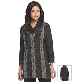 Notations® Marled Cable Knit Tunic Sweater