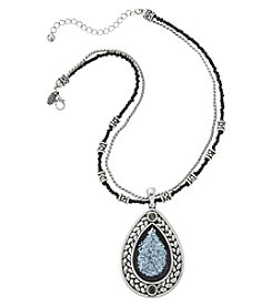 Laura Ashley® Black Seed Bead Chain with Teardrop Pendant