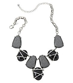 Laura Ashley® Seven Piece Black and Glitter Frontal Necklace