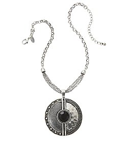 Laura Ashley® Grey Round Glitter Pendant Necklace