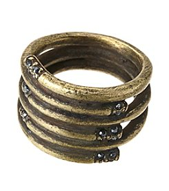 Ruff Hewn Goldtone Wrapped Ring with Pave