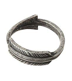 Ruff Hewn Burnished Silvertone Feather Ring