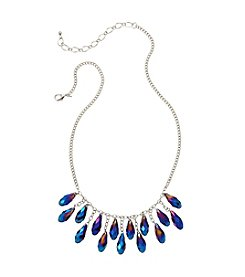 BT-Jeweled Blue Faceted Pear Bead Shaky Necklace