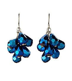 BT-Jeweled Blue Faceted Pear Cluster Earrings