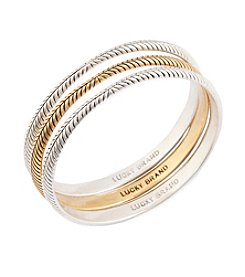 Lucky Brand® Two-Tone Etched Bangle Set