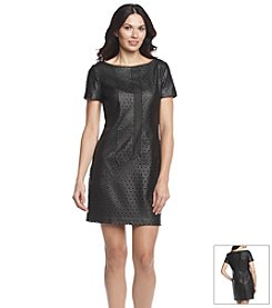 Muse Perforated Faux Leather Sheath Dress