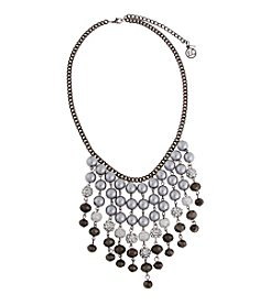 Erica Lyons® Gray Pearl Bib Front Statement Necklace