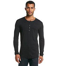 John Bartlett Statements Long Sleeve Cotton Henley Tee Shirt