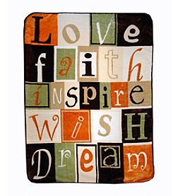 Shavel Home Products Hi Pile Love, Faith, Inspire Oversized Throw
