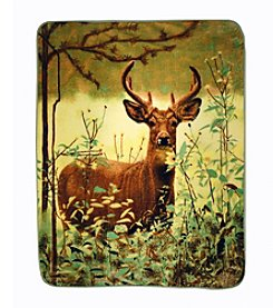 Shavel Home Products Hi Pile Standing Deer Oversized Throw