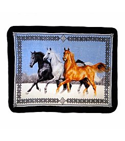 Shavel Home Products Hi Pile Running Horses Oversized Throw