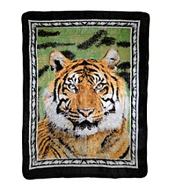 Shavel Home Products Hi Pile Tiger Portrait Oversized Throw