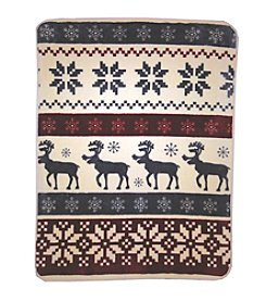 Shavel Home Products Hi Pile Reindeer Stripe Oversized Throw
