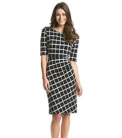 Connected® Petites' Elbow Sleeve Window Pane Print Dress