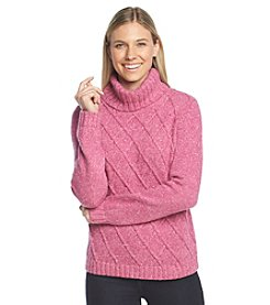 Jones New York Signature® Tweed Turtleneck With Cable Detail
