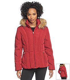 Calvin Klein Hooded Winter Coat W/ Faux Fur Trim