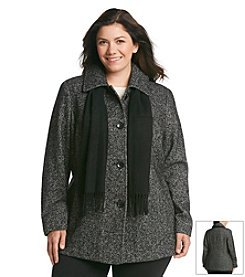 London Fog® Plus Size Short Single Breasted Club Collar Scarf Coat