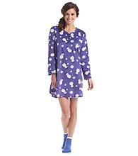 KN Karen Neuburger Fleece Sleepshirt and Slipper Socks Set - Snowman