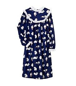 Lanz of Salzburg® Girl's Flannel Gown - Puppy Love