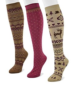 MUK LUKS Women's 3-Pair Knee High Sock Pack