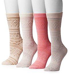 MUK LUKS Women's 4-Pack Microfiber Crew Socks